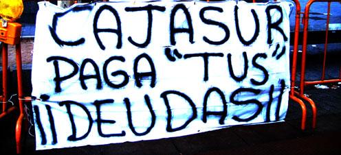 pancarta que usó el empresario durante su huelga de hambre